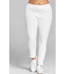 plus size grommet lace up leggings