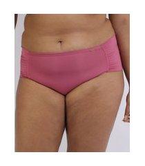 calcinha love secret plus size em modal caleçon com lateral dupla rosa
