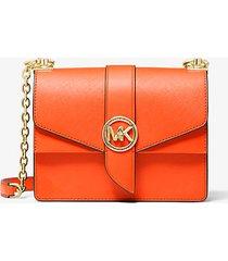 mk borsa a tracolla greenwich piccola in pelle saffiano - mandarancio (arancio) - michael kors