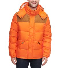 tommy hilfiger men's mixed media nylon and corduroy quilted puffer jacket