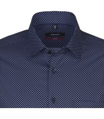 seidensticker heren overhemd blauw borstzak kent stippen modern fit ml7