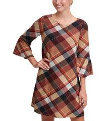 jessica howard petite plaid bell-sleeve sweater dress