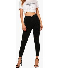 high rise heavy ripped skinny jeans, black