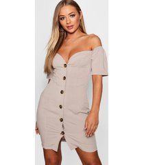 sweetheart mock horn button front mini dress, taupe