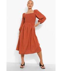 zwangerschap linnen geplooide midi jurk, terracotta