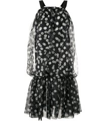 lee mathews cherry spot bubble dress - black