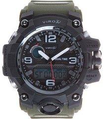 reloj virox hombre análogo digital verde militar