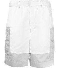 sacai wide leg cargo shorts - white