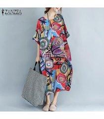 zanzea para mujer de la manga del batwing floral de la playa de vestir kaftan sun maxi vestidos de las señoras -rojo