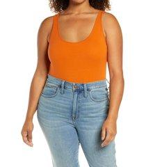 plus size women's bp. double scoop tank bodysuit, size 2x - brown