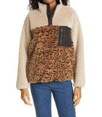 women's rails saga leopard print faux shearling pullover, size x-large - brown