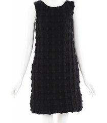 dolce & gabbana textured wool mini dress black/geometric sz: xs