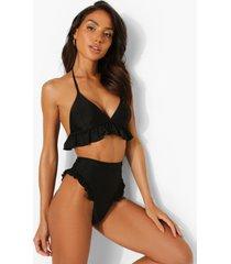 high waist bikini broekje met franjes, black