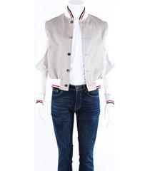 thom browne gray white cotton leather varsity jacket men's white/gray sz: xs