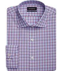 esquire navy & orange check slim fit dress shirt