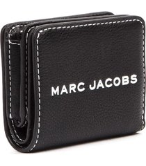 marc jacobs compact tag black hammered leather wallet