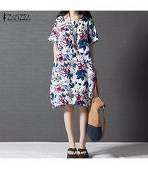 zanzea boho p stylerinted floral dress verano mujer vestidos de manga corta casual vintage vestido plus size s-5xl -multicolor