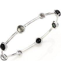 rock candy black tie semi-precious multi-stone & sterling silver station bangle bracelet