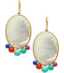 nova 18k yellow gold, mother-of-pearl & multi-stone oval drop earrings