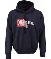 diesel blauwe oversized sweater hoodie valt groter