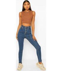 tall super skinny jeans met knopen, mid blue
