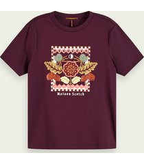 scotch & soda katoenen t-shirt met korte mouwen en borduursels