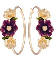 nanette lepore winter garden flower hoop earrings