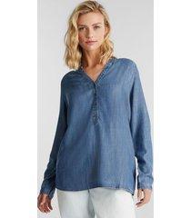 blusa mujer manga larga tencel azul denim esprit