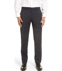 men's zanella parker flat front solid stretch wool trousers, size 40r - blue