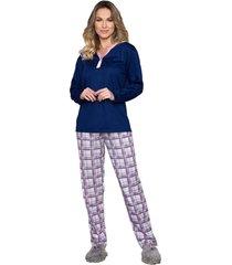 pijama vincullus inverno azul marinho - kanui