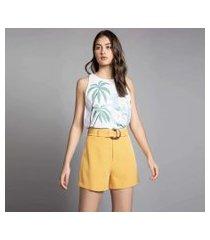 lez a lez - shorts cintura alta com cinto amarelo caramelo