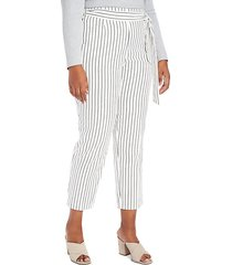 self-tie striped trousers