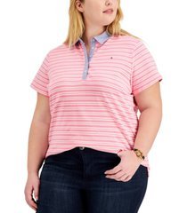 tommy hilfiger plus size striped polo shirt
