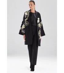 compact knit crepe embroidered dragon caban jacket, women's, size l, josie natori