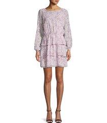 floral-print ruffle shift dress