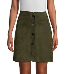 ginger button-front stretch suede a-line skirt
