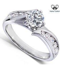 1.25 ct diamond round cut 14k white gold plated 925 silver women's wedding ring