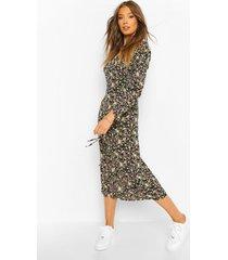 bloemenprint midaxi jurk met franjemouw en zijsplit, black