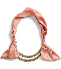 women's stella & dot mixed media scarf necklace