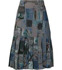 jean louis scherrer pre-owned pleated hem skirt - grey