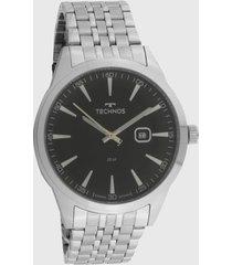 relógio technos 2117lcv/1p prata/preto