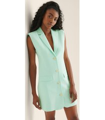 na-kd classic tailored vest dress - turquoise