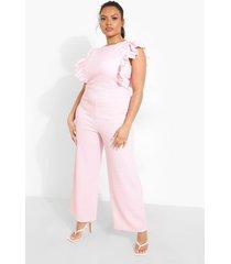 plus gingham jumpsuit met mouw franjes, pink