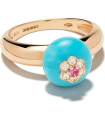 david morris 18kt rose gold diamond turquoise berry ring