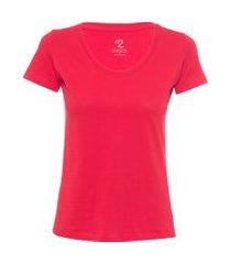 t-shirt feminina pima berlim decote u - vermelho
