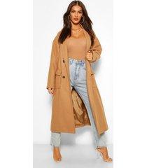 nepwollen jas met dubbele knopen en ceintuur, kameel