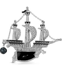 2028 enamel galleon ship brooch pin
