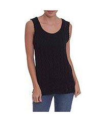 100% pima cotton sleeveless sweater, 'ebony goddess' (peru)