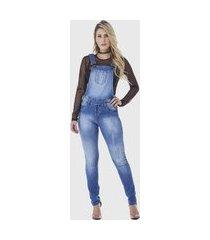 macacão jardineira suspensório hno jeans longo com elastano azul