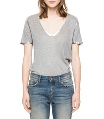 women's zadig & voltaire 'tino' foil accent tee, size large - grey